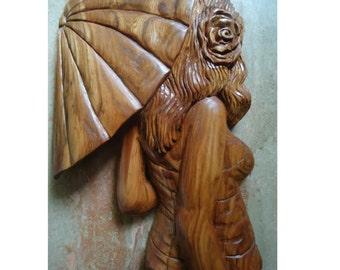 Carved wood Sculpture - Girl with Umbrella - Large wood wall art - Wood carving - Large wood sculpture - Wood sculpture - Large wall artwork