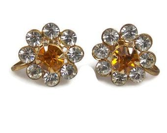 Vintage Topaz Clear Rhinestone Flower Earrings Marked Charm