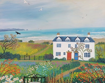 Print of English seaside landscape of cottages from an original acrylic painting 'Beach View Cottages' by Jo Grundy