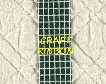 5 YARDS, Hunter GREEN White, Fabric Craft Ribbon, Windowpane Print, 13/16 Inch Wide, C26
