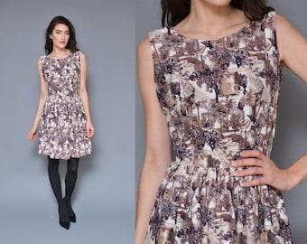 50s 60s TOILE printed mini dress // cotton purple mauve watercolor GRECIAN scene novelty print high waist pleated skirt a-line party dress