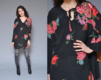Oversized Blouse Floral Printed Tunic Top  S M L Silk Blouse Black Pink Floral printed Bow Tie Hippie Boho REVIVAL Festival Silky Tent Shirt