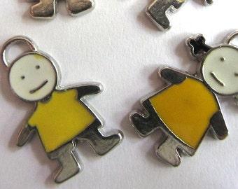 Set of 4 Yellow Enamel Children Charm Pendants