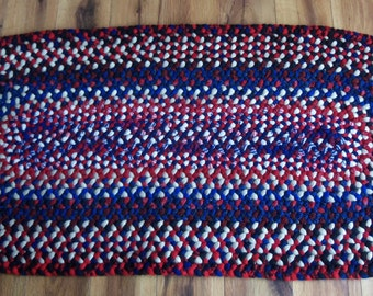 Red White and Blue Oval Braided Wool Rug 45x21 Inches