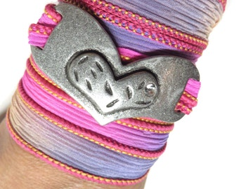 Bohemian Heart Silk Wrap Bracelet Yoga Jewelry Silk Ribbon Bracelet Love Jewelry Purple Wrist Band Unique Valentine's Christmas Gift For Her