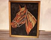 Vintage - Equine Artwork - Horse Painting on Black Velvet - Arabian Bay Quarter Brown