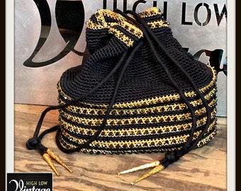 Vintage Black Gold Beaded Handbag Bag Purse Pouch FREE SHIPPING