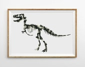 Dinosaur Print, Watercolor Painting Trex Art, Black White Gray Modern Minimalist Graphic Artwork, Skeleton Bones, Large Poster Wall Decor