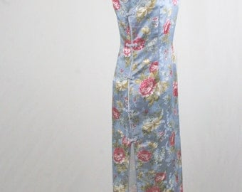 Vintage Blue Satin Cheongsam Oriental Asian Dress