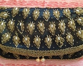 fabulous black silk clutch with beautiful gold and white beadwork