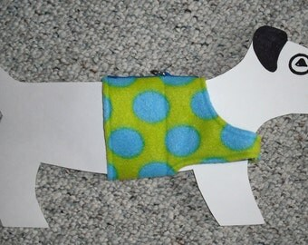 "Fleece Dog Walking Harness Vest x-small (5-8 lb) 14.5"" girth, Lime Green & Blue Polka Dots with bandanna print lining"