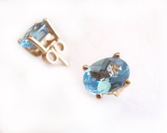 Blue Topaz Stud Earrings 14k Yellow Gold, Oval 3ct Cushion Cut Topaz, Vintage Estate Blue Topaz Earrings, Mothers Day, Gift for Her