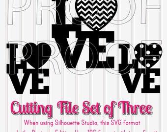 Love SVG Files cut file Set of 3 in SVG, PNG, & jpg formats. Chevron Heart svg Love cut file valentine cut files valentine svg cut love svg