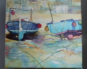 Canvas Print of St Ives, wrapped canvas art, print of Cornwall, Cornish harbour and boats, St ives, beautiful cornwall