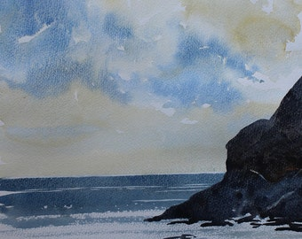 Original seascape painting Cornwall,  Praa Sands seascape, cornwall coast, sea painting, sea watercolor, beach art