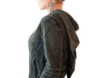 Cotton Velvet  Pixie Hoodie - Psy Jacket - Tribal - Goth - Elf - Gothic - Hood - Women