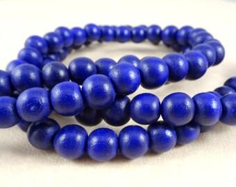 """Blue Wooden Beads - 8mm Wooden Beads - Cobalt Blue Beads - 16"""" Strand"""