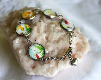 Stainless Steel Bracelet with Glass Cabochons, Sunshine and Flowers 2