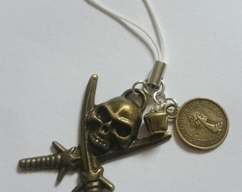 PREMADE One Antique Gold Effect Pirate Phone Charm Keyring Coin Bell
