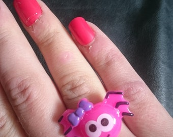 Halloween Creepy Cute Resin Pink Girl Spider Adjustable Ring Large Pastel Goth