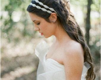 Double Wedding headband, Double Rhinestone Headband, Wedding Headband, Bridal Headband, Bridal Headpiece, Rhinestone Hair Jewelry, H12