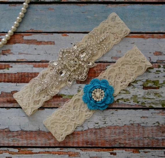 Items Similar To Something Blue Wedding Garter, Rhinestone