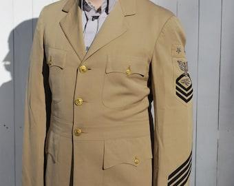 Vintage Navy Khaki Uniform, Steampunk Dieselpunk Style