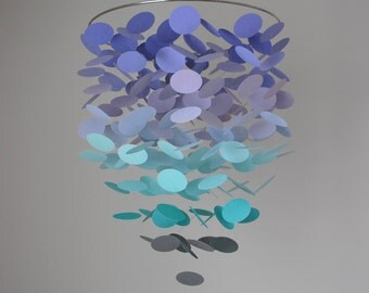 Floating Dot Mobile (Large) Lavender, Turquoise/Teal Gray Ombre // Nursery Mobile - Choose Your Colors