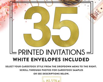 Set of 35 printed invitations / cards