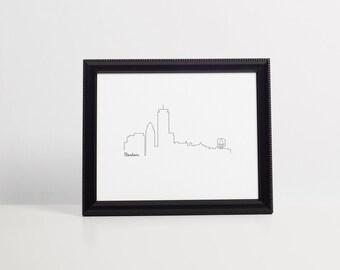 Boston Skyline Art Print - black - Art Print - 8x10 instant download