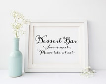 "INSTANT DOWNLOAD - Dessert Bar Printable Sign 8x10"" DIY Wedding or Party... Black"