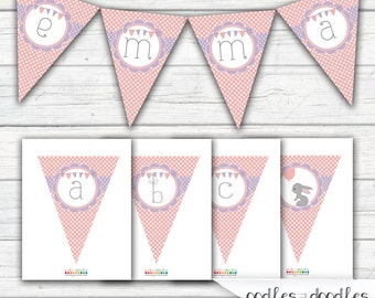 Bunny Banner, Pink and Purple, Polka Dots, Bunny Birthday, Bunny Party, Bunny Bunting / Create Your Own A- Z / INSTANT DOWNLOAD - Printable