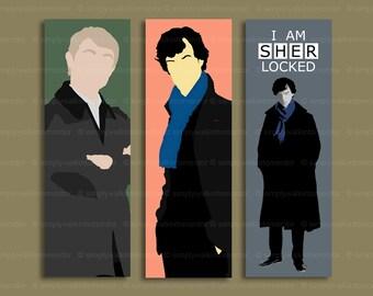 Sherlock bookmark – Benedict Cumberbatch – Martin Freeman – BBC Sherlock or John Watson bookmark – fandom cosplay – choose design