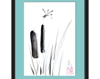 Original Sumi-e  - dragonfly ink painting