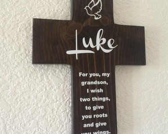 Grandson Cross Personalized with his name on Pine Wood w/ Dove (Roots & Wings) Baptism, Easter, Birthday, First communion, gift for boy Blue