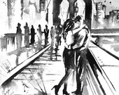 Kissing Couples in New York Romantic Travel - Original Art Watercolor Painting - Romantic Bliss by Lana Moes - Wanderlust Collection