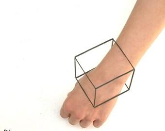 Geometric Square Cube 3D Bracelete Cuff Sterling Silver 925 Oxidised