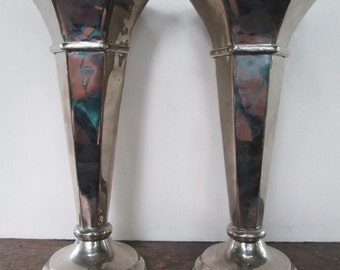 Pair of Silver Plated Trumpet Vases