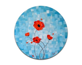 Blue painting, Red poppies painting, impasto painting, original fine art,  bridal shower gift for her
