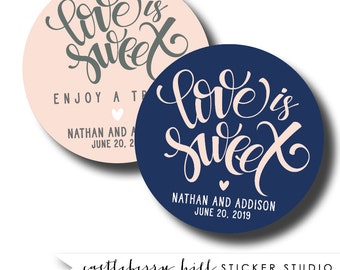 Love Is Sweet Stickers, Personalized Wedding Stickers, Favor Seals, Wedding Favor Stickers, Round Stickers, Envelope Seal Favor Bag Sticker