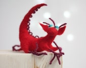 Needle Felt Dragon - Dreamy Red Dragon - Valentine Doll - Needle Felted Art Doll - Hero Of The Tales - Home Decor - Valentine Gift Idea