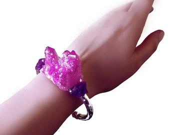 Pink angel aura quartz, crystal cuff bracelet, pink aura crystal bracelet, amethyst bracelet, aura quartz cuff, gemstone bracelet, OOAK