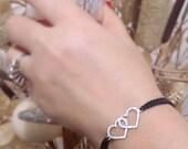 925silver love bracelet, girlfriend gift, silver heart bracelet snowflake bracelet circle bracelet double heart bracelet gift for girlfriend
