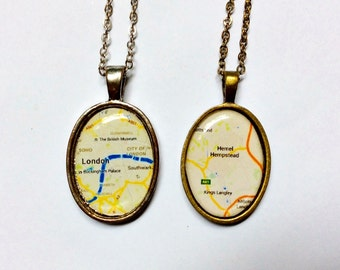 customized map resin necklace, travel themed jewelry