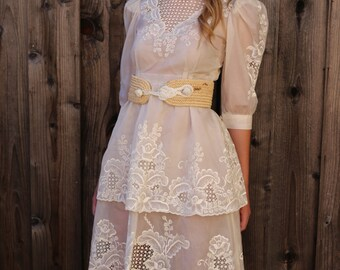 Vintage 60s 70s Sultry Cream Sheer Lace Wedding Dress, hippie boho bohemain Victorian Dress