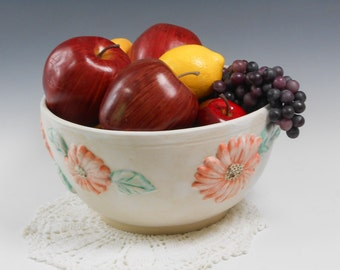 Pottery serving bowl - Sunflower serving dish - white serving bowl - salad bowl - large fruit bowl B97