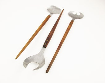 Three Stainless Pieces - Teak-handled Serving Pieces - Made in Japan - Spork, Spoon, Slotted Spoon - Elegant Danish Modern Style - Long