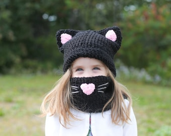 Kitty Hat and Cowl Scarf/ Cat hat/ Kitty Hat/ Cowl Scarf/ Girls winter hat/ Girls hat/ Crocheted Hat/ Crochet/ Cat costume/