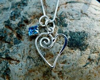 Sterling silver heart outline necklace, love jewelry, dainty jewelry, wedding jewelry, Mothers jewelry