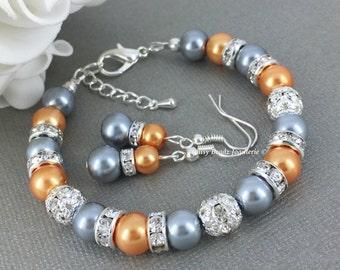 Orange and Grey Pearl Bracelet, Bridesmaid Gift, Pearl Jewelry, Pearl Bracelet, Bridesmaid Bracelet, Bridesmaids Jewelry, Grey and Orange